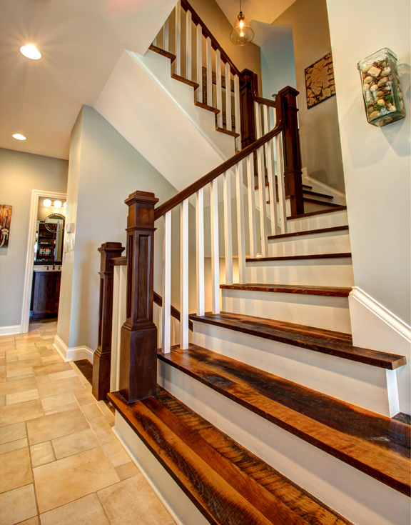 craftsman custom home stair