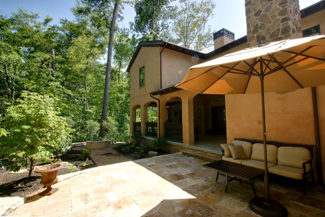 tuscan custom home outdoor living