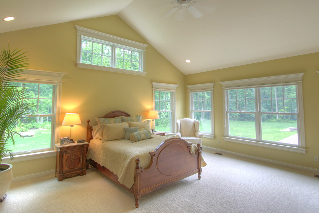 traditional custom home master bedroom