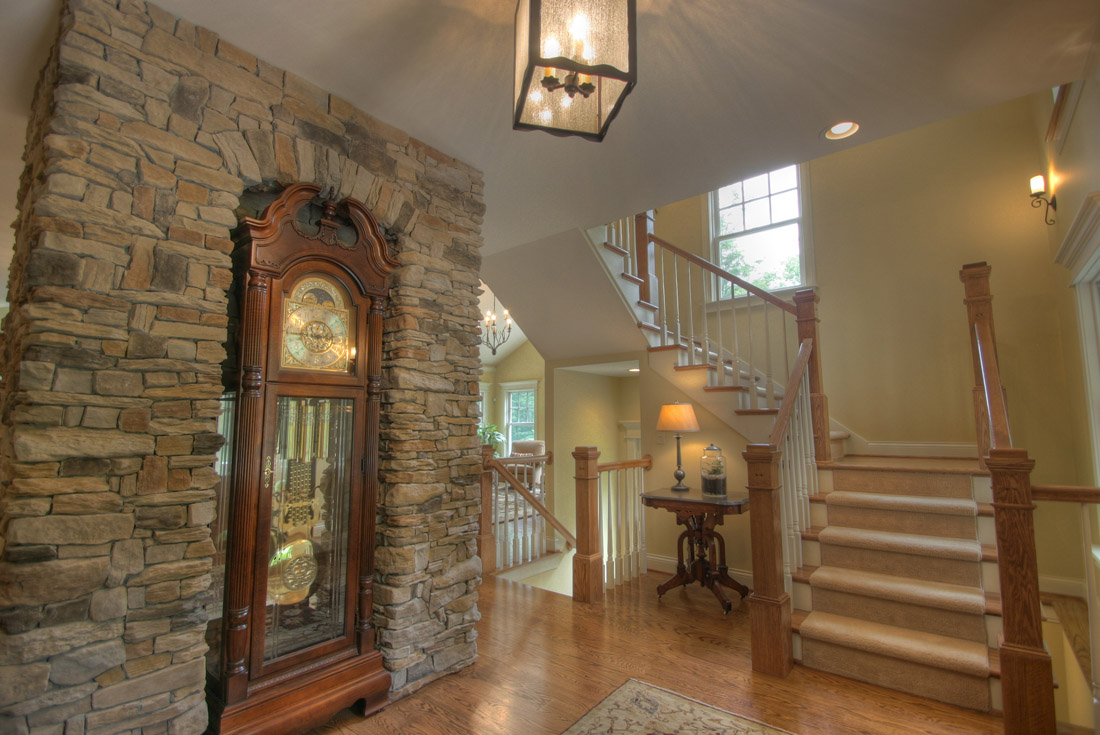 traditional custom home foyer stair