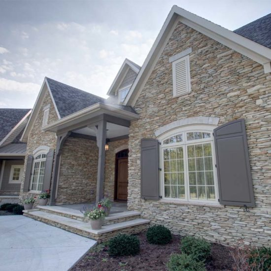 traditional custom home entry porch