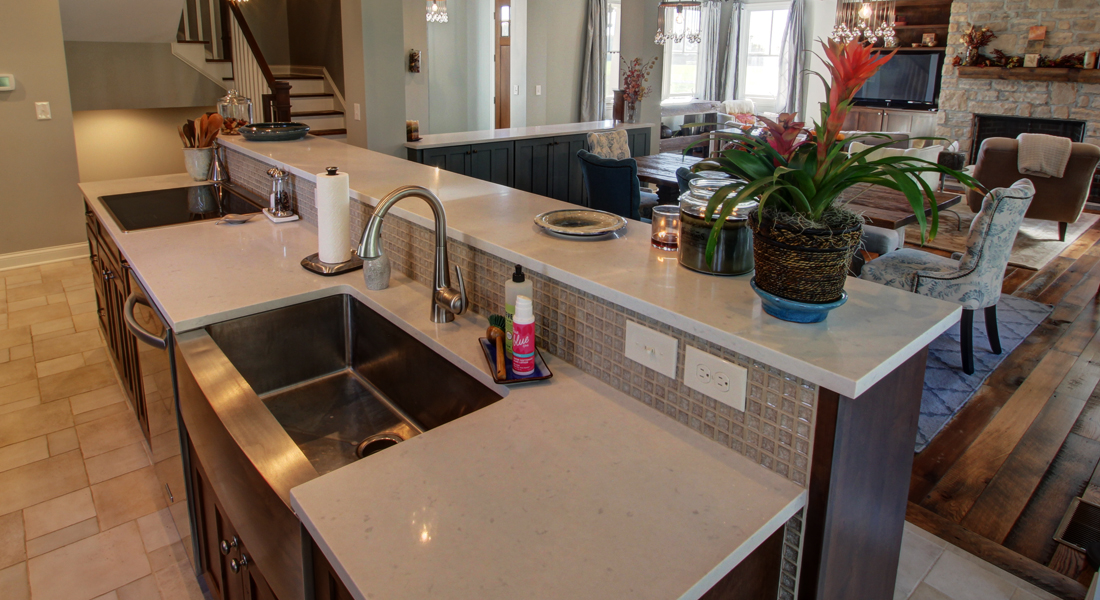 An Island With Everything A 42 Raised Top Sink Dishwasher And Cooktop Note The Tile Backsplash Switches Outlets